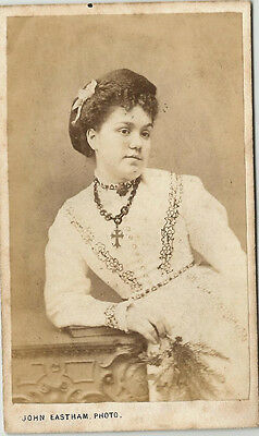 Vintage Old CDV Photo Victorian Woman Coptic Cross 8 Pointed Star Design Dress