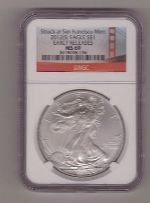 2012 (S) Silver American Eagle (NGC MS-69) GOLDEN GATE SERIES