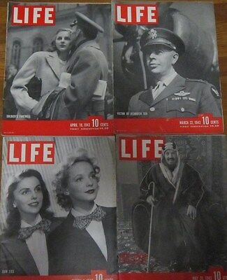 LIFE magazines  Lot of 4 1943 Back Issue cut out globe vintage