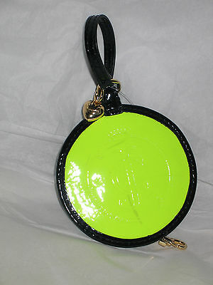 Juicy Couture shiny neon yellow and black beach luggage tag holder case YSRUO056