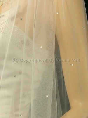 1T Ivory Bridal Cathedral Scattered 80 Rhinestones Rattail Edge Wedding Veil
