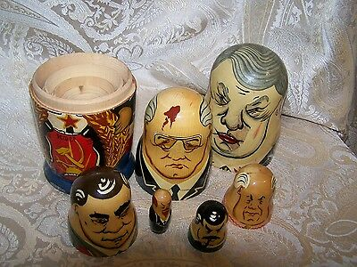 ESTATE Beautiful Collectible VINTAGE Soviet Russian Leaders NESTING DOLLS 6 Pcs!