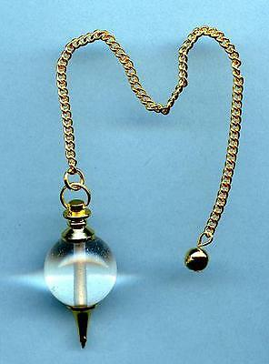 Clear Quartz & Brass Round Pendulum #2 Comes with pouch!!       ~Divination