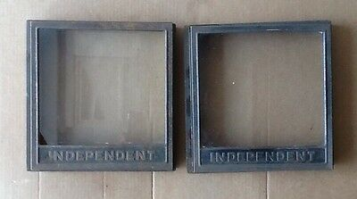 2 Antique Independent Baking Co. Glass Store Counter Display Case Hinged Box Top