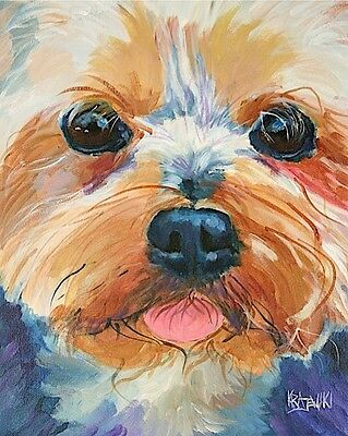 Yorkshire Terrier 8x10 signed art PRINT from acrylic painting RJK