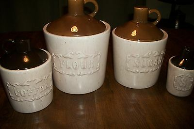 VINTAGE SET OF USA POTTERY JUG STYLE CANISTERS
