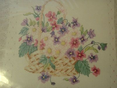counted cross stitch pillow kit VIOLETS quilted basket eyelet lace 12x12 NIP new