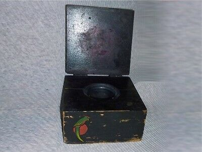 Antique Hand Painted Wood Folk Art Deco Inkwell Primitive Box