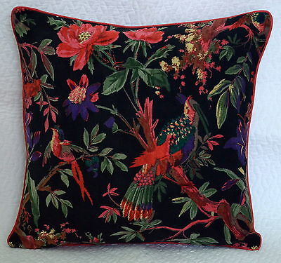 """Indian Vintage Pillow Case Bird Of Paradise Velvet Cushion Cover Throw 16 by 16"""""""