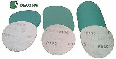 Oslong Green Film 6-Inch Hook and Loop Sanding Discs Box of 100  grits 40 - 3000