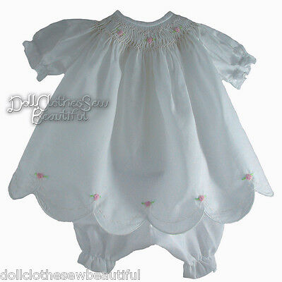 Christening Hand-Gown Smocked Pima Cotton for Bitty Baby + Twins Doll Clothes