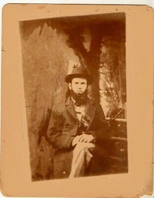 Old  Antique Vintage CDV Photograph Man With Beard and Cool Hat