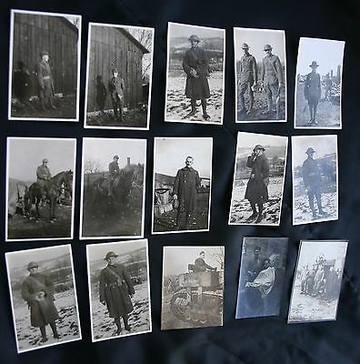 """WW1 Lot of 15 Photos  2-1/2"""" x 1-1/2"""" Germany 1917-18 from """"Rainbow Division"""""""