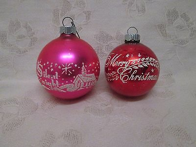 2 Vintage Stenciled Mica Shiny Brite Ornaments Silent Night Merry Christmas