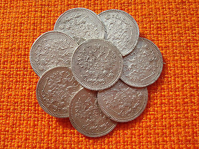 Old Pin Brooch Made Of 5 Koppeck Russian Empire 1890  Silver Coins Nr 4614
