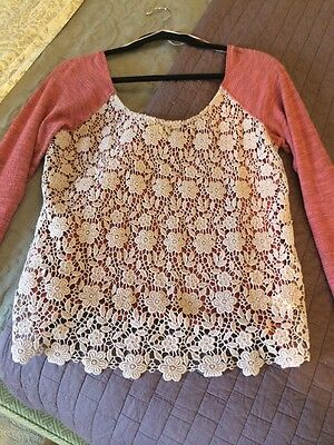 Free People Dusty Lilac Daisey Lace Top M Medium