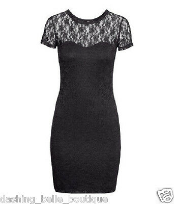 H&M BLACK LACE BODYCON COCKTAIL PARTY MINI HOLIDAY XS FITTED CLUB STRETCH SEXY