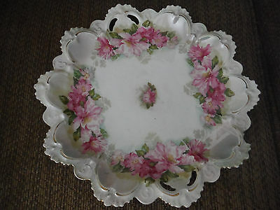 "Antique M.Z. Austria Scalloped China Pink Rose 11 1/4"" Across Plate - Gold Trim"