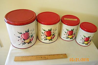 VINTAGE DECOWARE NESTING METAL CANISTER SET APPLES, PEARS CHERRIES MADE IN USA