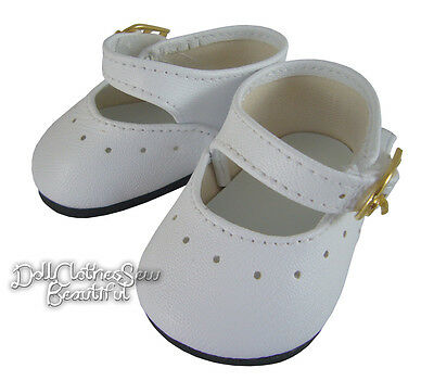 """Sale! White Basic Dress Shoes Made For 15"""" Bitty Baby + Twins Doll Clothes"""