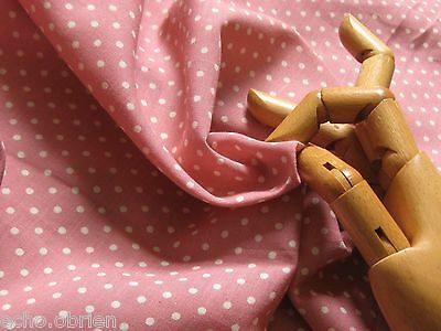 "VINTAGE MAUVE/ROSE PINK Small POLKA DOT Cotton REMNANT/24""LX38""W, DOLL Dress"