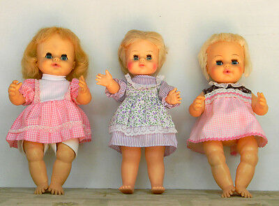 Horsman lot of 3 1960's Dolls 12 and13in. good condition dolls