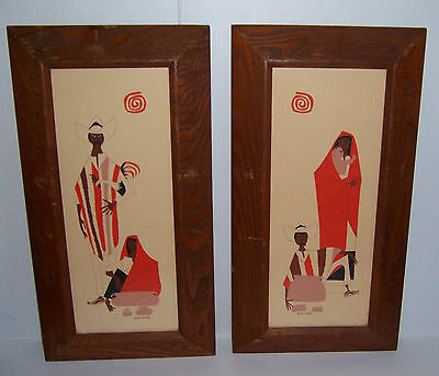 Vintage Set Of 2 Apolinar Mexican Framed Print Of Man Woman & Child