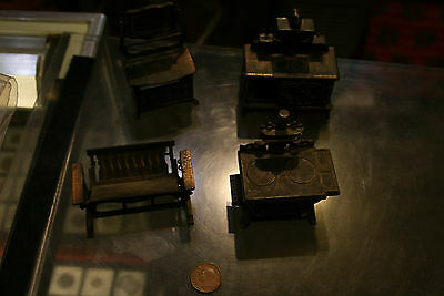 Lot of 4 Vintage Durham Dollhouse Vanity, Stove, Glider Bench and 2 Ovens B