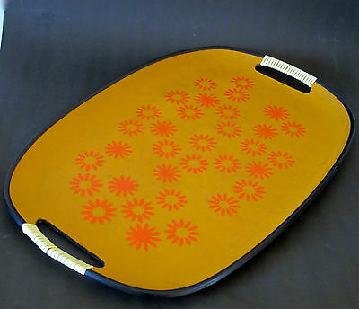 Oval Serving Tray with Funky Orange Floral Motif c.1960s