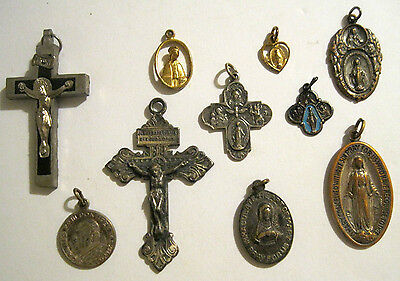 10 Antique RELIGIOUS HOLY MEDALS Crucifix Cross PENDANTS LOT Vtg Blessed Mother