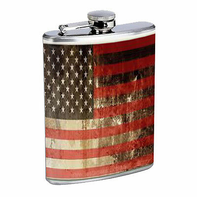 AMERICAN FLAG D5 Flask 8oz Stainless Steel Patriotic Stars and Stripes Honor