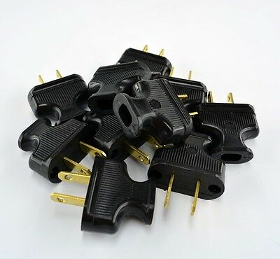 10-Pack BLACK Vintage Antique Style Electrical Plugs - Lot of 10 - Lamp Cord