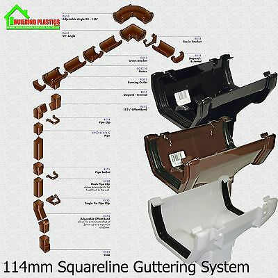 SQUARELINE GUTTER - DOWNPIPE - FITTINGS. FREEFLOW 114mm SQUARELINE GUTTERING