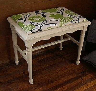 Vintage Painted Cottage Romantic Chic Vanity Bench