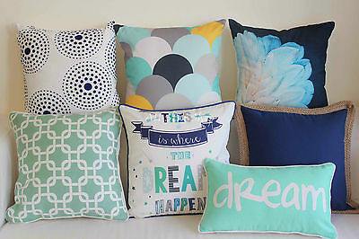 Art Vintage Aqua Navy Set Home Decor Cotton CUSHION COVER PILLOW CASE 18""