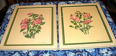 2 Vintage Naomi Chapin Flower Paintings Sold By J J Gillespie Company - Framed