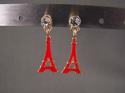"Red La Tour Eiffel Tower dangle post 1 1/16"" long earrings Paris France"