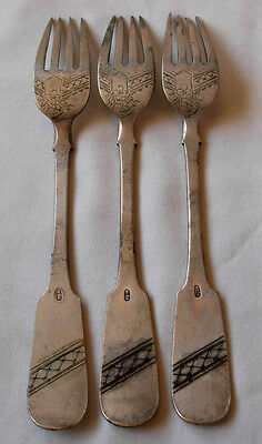 SET OF 3 ANTIQUE RUSSIAN 84 SILVER DINNER FORKS- HAND ENGRAVED- 143 grams