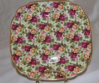 Royal Albert OLD COUNTRY ROSES Chintz Square Salad Dessert Plate Gold Trim