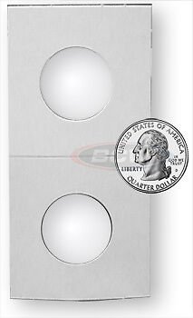 500 BCW Crystal Clear Coin Holders Paper Flips Quarter Bulk- 2x2 - 24.3mm