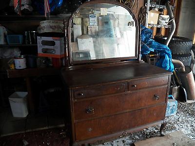 Antique Dresser with Large Mirror Needs New Hardware