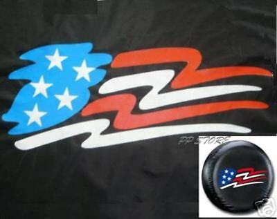 """SPARE TIRE COVER 26.2""""-28.6"""" with American Flag ep black zf1389246p"""