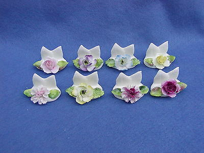 8 Coalport Bone China Place Card Holders, England, perfect condition