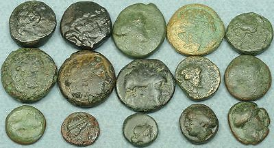 LOT OF 15 SMALL GREEK BRONZE COINS