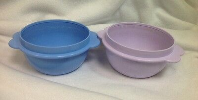 Set of 2 Tupperware Round One Touch 16 oz Bowls Storage Containers ~ Blue Purple