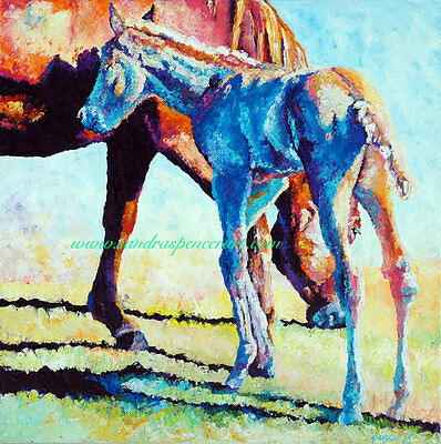 Original Oil Painting Horse Mama and Foal Art 18x18 Colorful Western Portrait