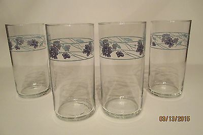 """Set Of Four Corelle Simply Spring 16 Oz Clear Glass Tumblers ~ 5 3/4"""" Tall"""