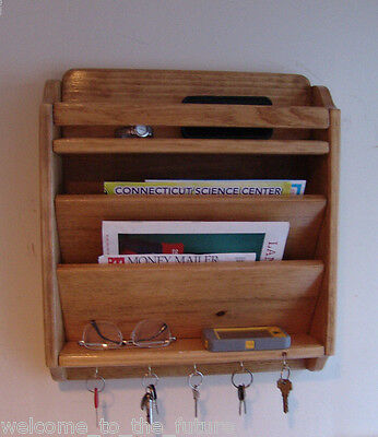 "18"" Handcrafted Mail Organizer, Phone Key Rack Holder, Wood Wall Caddy, Gold Oak"