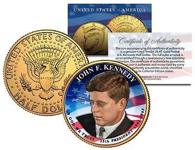 PRESIDENTIAL $1 JOHN F KENNEDY on 2015 JFK Half Dollar U.S. Coin 24K Gold Plated