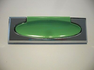 Vintage NOS CHROME & GREEN Drawer PULLS Recessed Rectangular Bail Style Art Deco